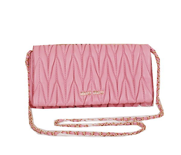 miu miu Matelasse Leather Flap Shoulder Bag BL089 Pink