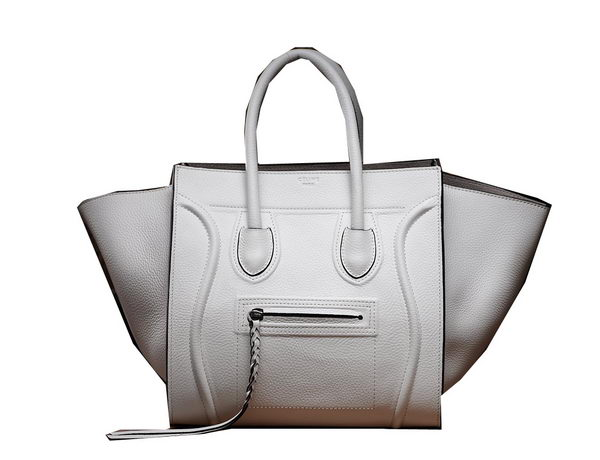 Celine Luggage Phantom Original Grainy Leather Bags C3341 White