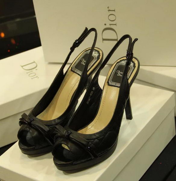 Dior Sheepskin Leather Peep-toe Pump D0252 Black