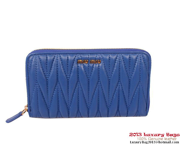 miu miu Matelasse Shiny Calf Leather Wallet 8010 Blue