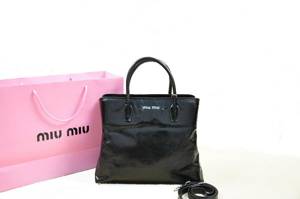 miu miu Shiny Calfskin Leather Tote Bag BN0967 Black