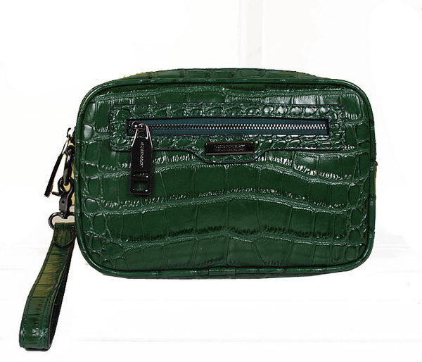 Burberry Croco Leather Mens Clutch 7882 Green