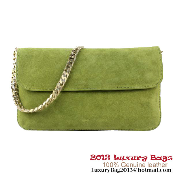 Celine Gourmette Bag Suede Leather Green