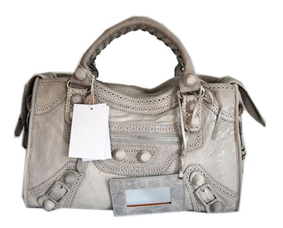 Balenciaga Lampskin Leather Handbag 084832 Light gray