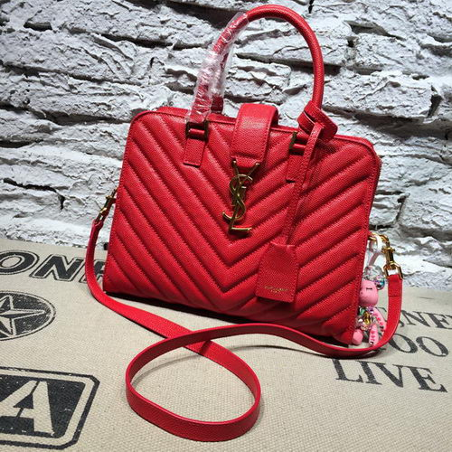 Saint Laurent Cabas Cannage Pattern Leather Top Handle Bag Y2764 Red
