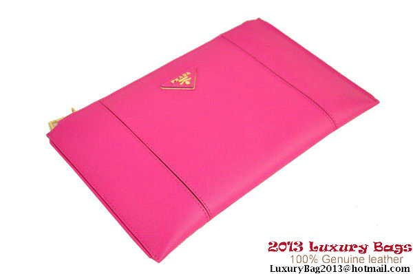 PRADA Saffiano Leather Clutch BP625 Peach