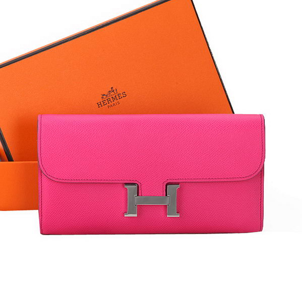 Hermes Constance Long Wallets Original Calfskin Leather A909 Peach