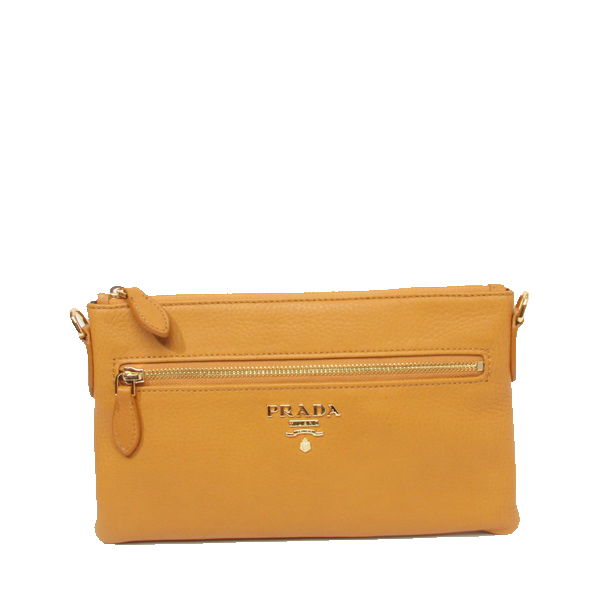 Prada BR1187 Yellow Grainy Leather Clutch