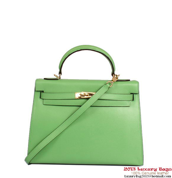Hermes Kelly 32cm Top Handle Bag Green Togo Leather Gold