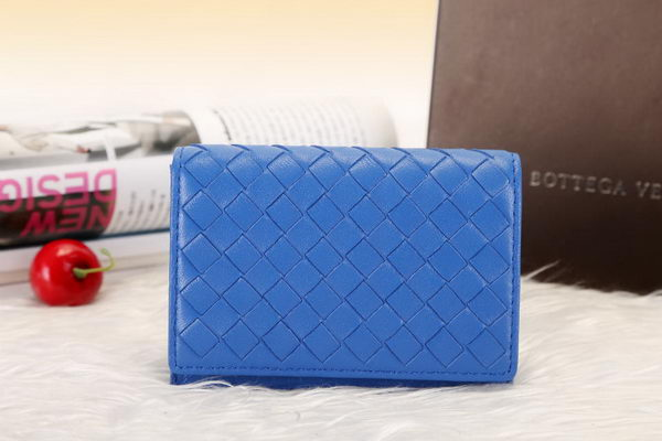 Bottega Veneta Shock Intrecciato Washed Vintage Card Case 133945 Blue