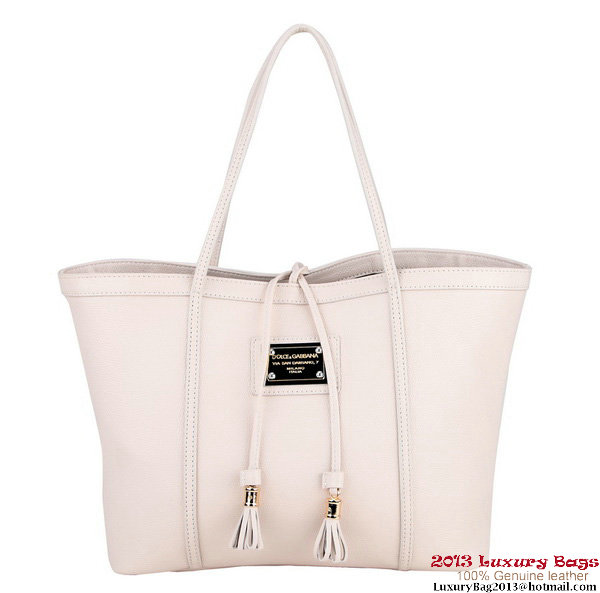 Dolce & Gabbana ESCAPE sHOPPER Bag Calfskin Leather BB4390 OffWhite