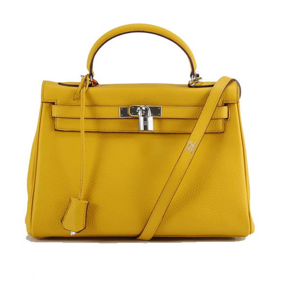 Hermes Kelly 32cm Togo Leather Handbags 6018 Yellow Silver
