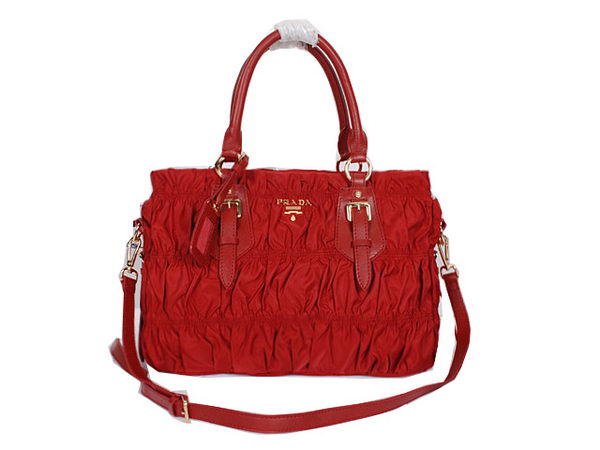 Prada BN1336 Gaufre Nylon Fabric Tote Bag Red