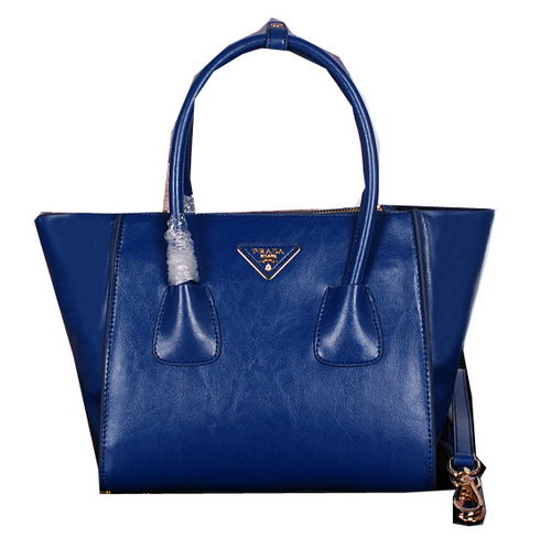 Prada Bright Leather Tote Bags BN2625 Royal