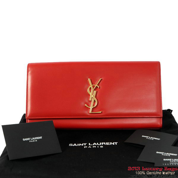 YSL Classic Monogramme Saint Laurent Clutch Bag in Red Leather