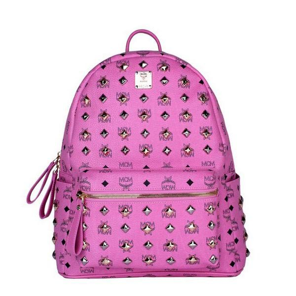 MCM Stark Studded Medium Backpack MC2089 Rosy