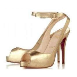Christian Louboutin Gold Leather Platform Slingbacks