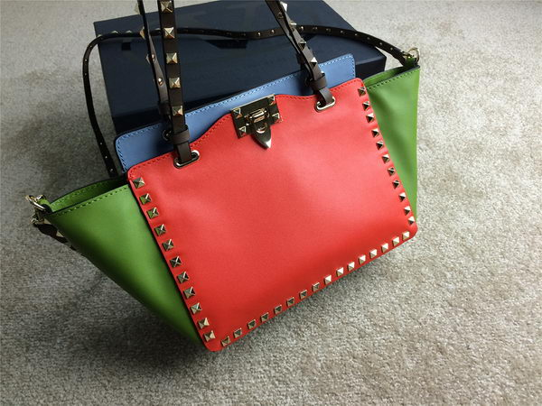 Valentino Garavani Rockstud mini Tote Bag Original Leather VG1916 Orange&Green&SkyBlue