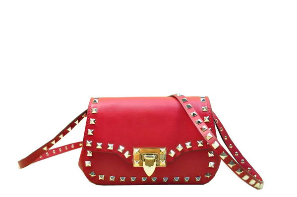 Valentino Garavani Rockstud Shoulder Bag Original Leather VO811 Red