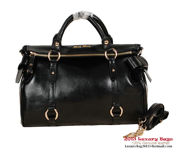 miu miu Shiny Calf Top-Handle Bag 88105 Black