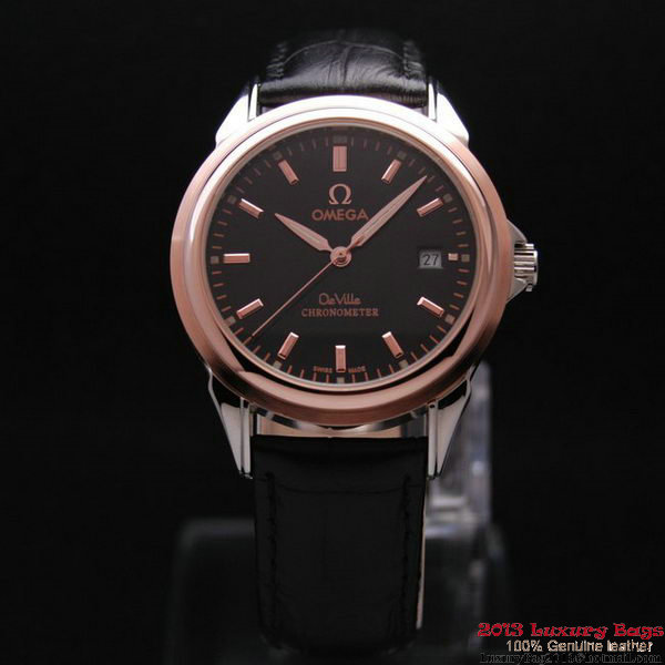 OMEGA DE VILLE Chronometer Red Gold on Black Leather Strap OM77316