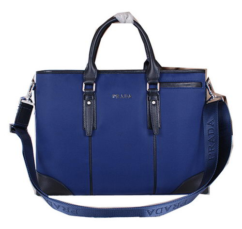 Prada Fabric & Leather Briefcase P3853 Blue