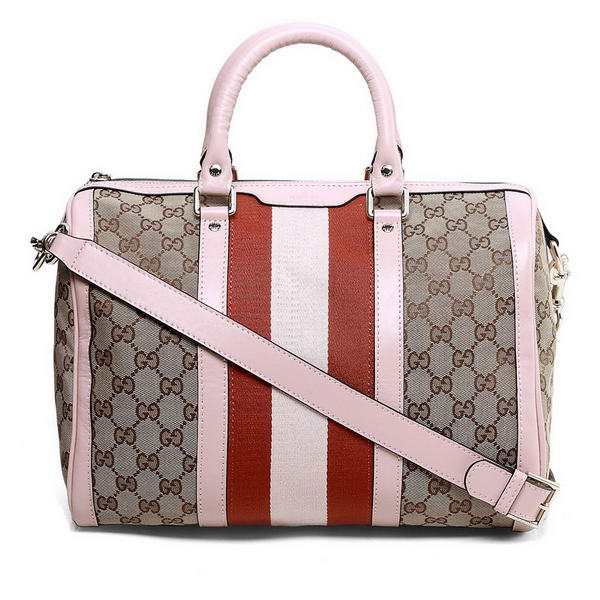New Cheap Gucci Vintage Web Boston Bag 247205 Pink