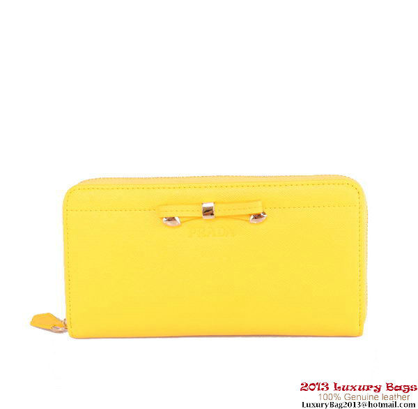 Prada Saffiano Leather Bow Zippy Wallet 1M0506B Yellow