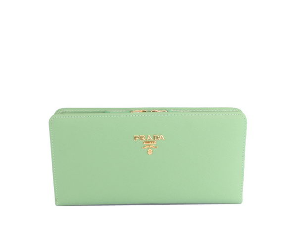 Prada Saffiano Leather Wallet 1M1246 Green