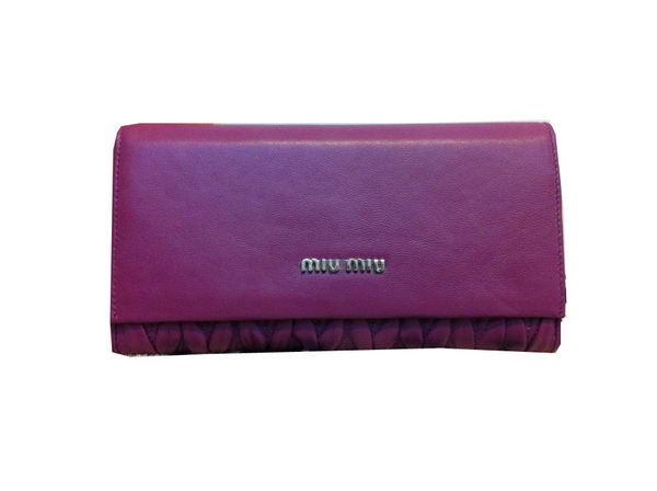 miu miu Matelasse Original Sheepskin Leather Bi-Fold wallets M1371 Purple