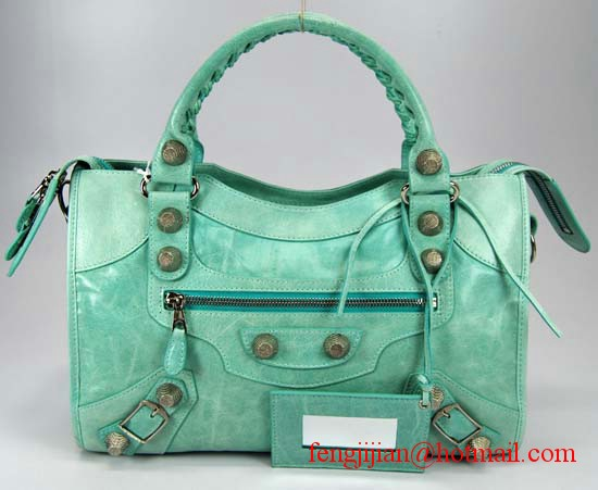 Balenciaga Giant City Silver Studs Handbag 084332A-Green
