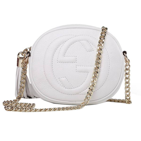 Gucci Soho Original Leather mini Chain Bag 353965 White