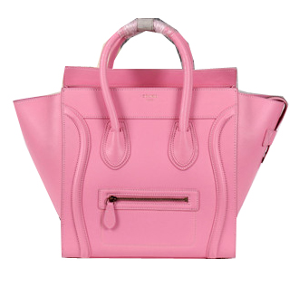 Celine Luggage Mini Boston Tote Bags Calfskin Leather CL3308 Pink