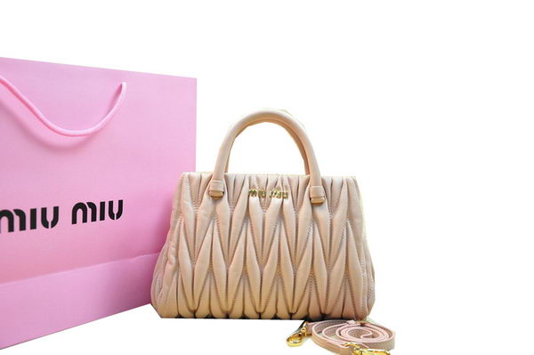 miu miu Matelasse Lambskin Leather Tote Bag M81168 Light Pink