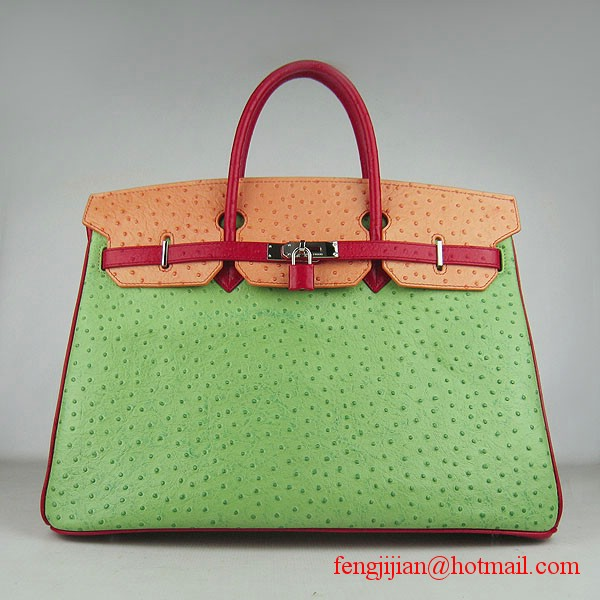 Hermes Birkin 40cm Ostrich Veins Leather Bag Red-Orange-Green 6099