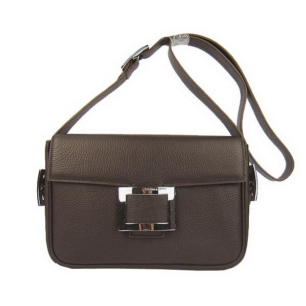 Hermes Buckle Shoulder Bag Calfskin Brown