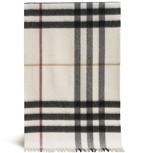 Burberry Cashmere Ivory Giant Check Scarf