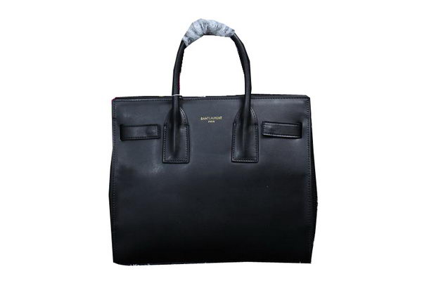 Yves Saint Laurent Classic Small Sac De Jour Bag in FOG Leather Y0118 Black