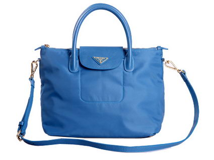 Prada Tessuto Nylon Saffiiano Leather Tote Bag BN2106 Light Blue