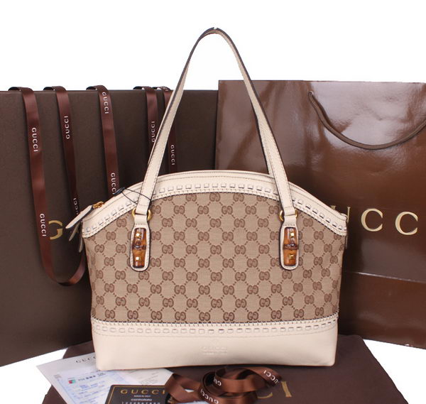 Gucci Laidback Crafty Canvas Top Handle Bag 339002 OffWhite