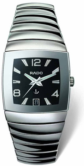 Rado Sintra Series Platinum-tone Ceramic Automatic Mens Watch R13598152 in Black