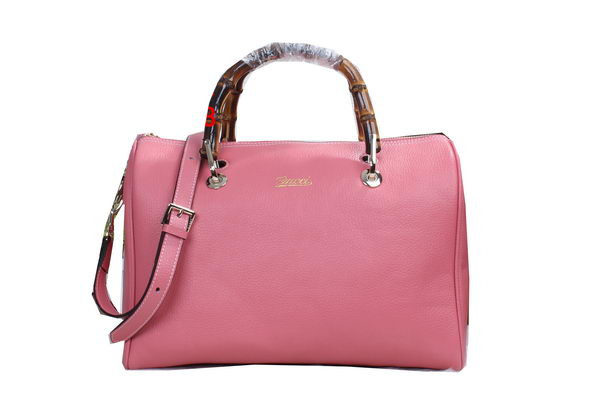 Gucci Bamboo Shopper Original Leather Boston Bag 353124 Pink