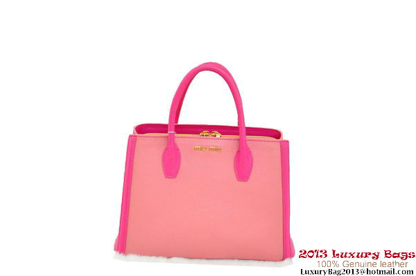 miu miu Two-Tone Suede Calf Leather Tote Bag BN0883 Pink&Peach