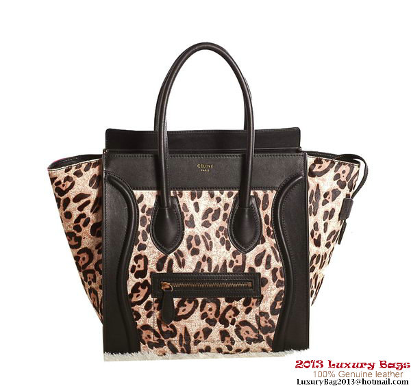 Celine Luggage Mini Boston Tote Bags Original Leather Leopard
