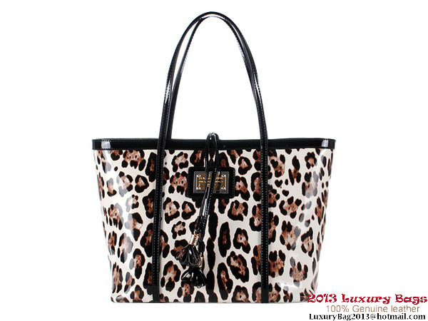 Dolce & Gabbana Leopard Patent Leather Shoulder Bag M11530 White