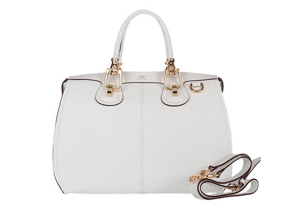 Hermes HerBag 37cm Shoulder Bag Offwhite Calfskin Gold