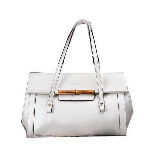 Gucci Bamboo Leather Top Handle Bag 338987 White