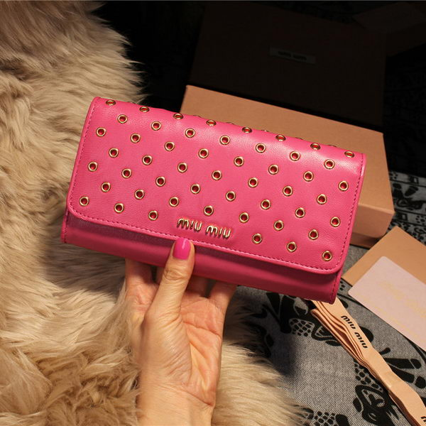 miu miu Shiny Calf Leather Wallet 5M1105 Rose