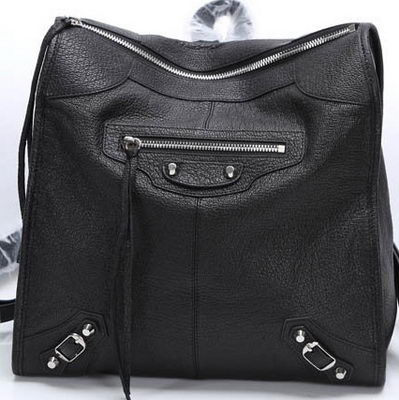 Balenciaga Backpack Black Litchi Leather B68335 Silver