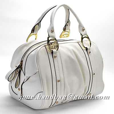 Gucci Interlocking Medium Leather Boston Bag 223953 White